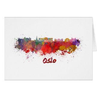 Oslo skyline in watercolor card