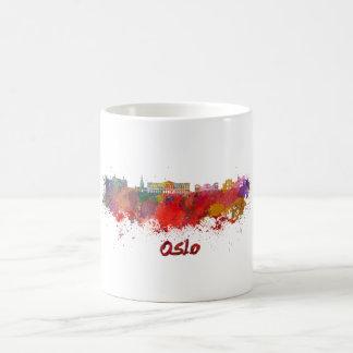 Oslo skyline in watercolor coffee mug