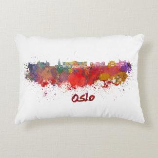 Oslo skyline in watercolor decorative pillow