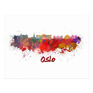 Oslo skyline in watercolor postcard