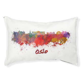 Oslo skyline in watercolor small dog bed