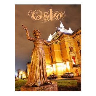 Oslo theatre at night postcard