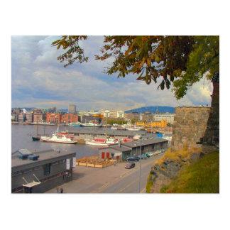 Oslo waterfront and marina postcard