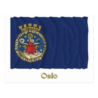 Oslo waving flag with name postcard