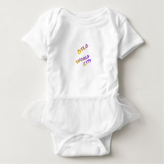 Oslo world city, colorful text art baby bodysuit