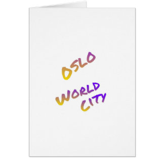 Oslo world city, colorful text art card