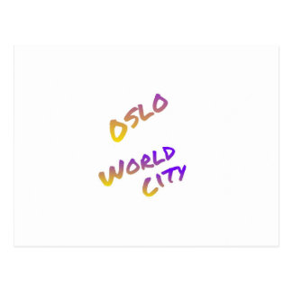 Oslo world city, colorful text art postcard