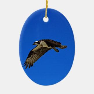 Osprey in Flight II Ceramic Oval Ornament