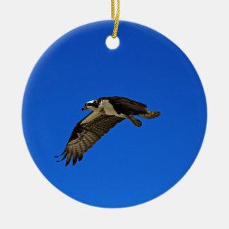 Osprey in Flight II Round Ceramic Ornament