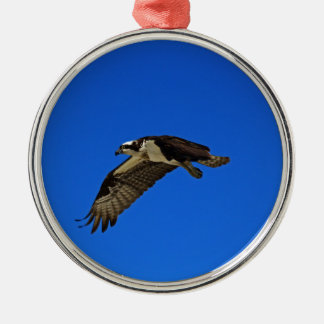 Osprey in Flight II Silver-Colored Round Ornament