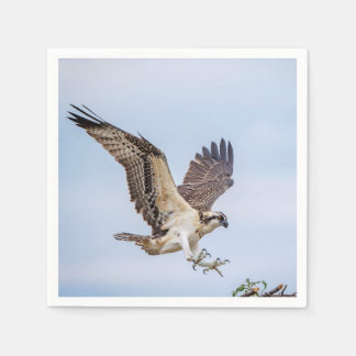 Osprey landing in the nest paper napkins