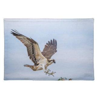 Osprey landing in the nest placemat