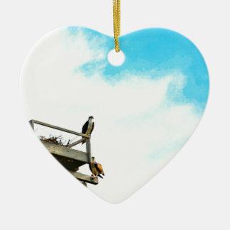 Osprey Nest Ceramic Heart Ornament