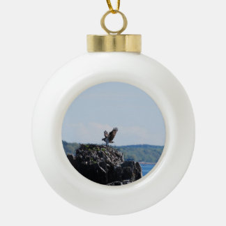 Osprey on Nest Ceramic Ball Ornament