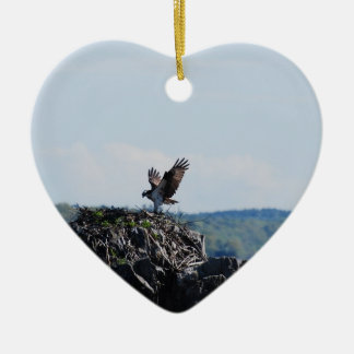Osprey on Nest Ceramic Heart Ornament