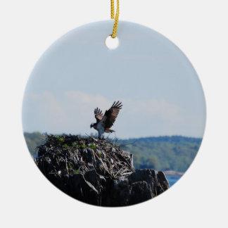 Osprey on Nest Round Ceramic Ornament