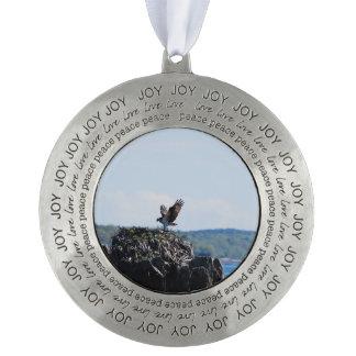 Osprey on Nest Round Pewter Ornament
