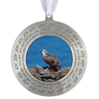 Osprey on the rocks round pewter ornament