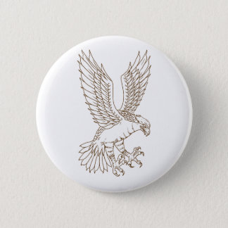 Osprey Swooping Drawing 2 Inch Round Button