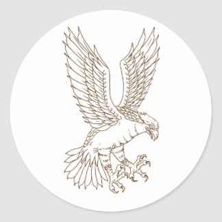 Osprey Swooping Drawing Classic Round Sticker