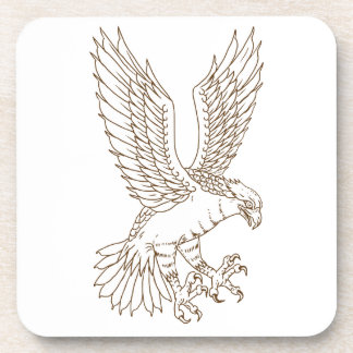 Osprey Swooping Drawing Coaster