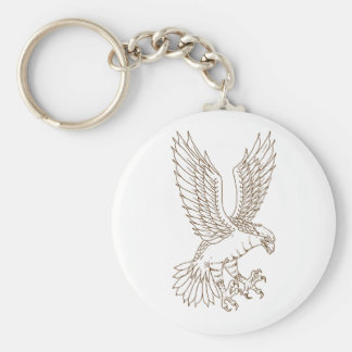 Osprey Swooping Drawing Keychain
