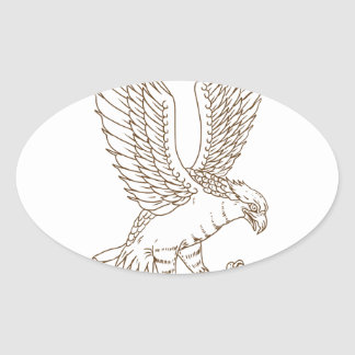 Osprey Swooping Drawing Oval Sticker