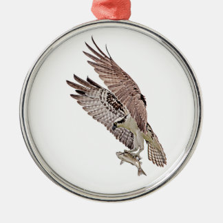 Osprey with a fish Silver-Colored round ornament