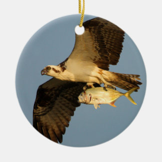 osprey with fish round ceramic ornament