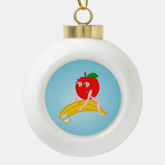 Osteopath Fruit Funny Apple Straightening a Banana Ceramic Ball Ornament
