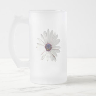 Osteospermum Daisy with Purple Centre Frosted Glass Beer Mug