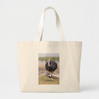 Ostrich and Black Crowned Crane Large Tote Bag