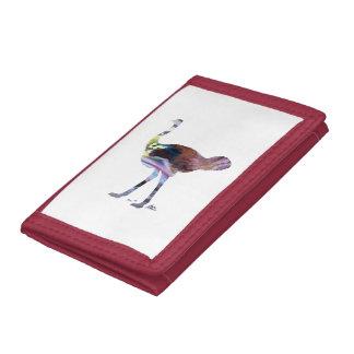 Ostrich art trifold wallet