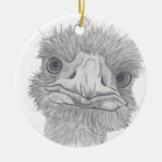 Ostrich Face Round Ceramic Ornament