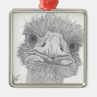 Ostrich Face Silver-Colored Square Ornament