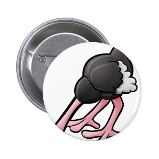 Ostrich Head Buried Cartoon Character 2 Inch Round Button