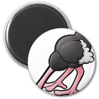 Ostrich Head Buried Cartoon Character 2 Inch Round Magnet