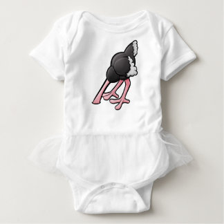 Ostrich Head Buried Cartoon Character Baby Bodysuit