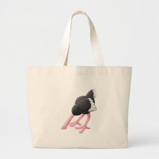 Ostrich Head Buried Cartoon Character Large Tote Bag