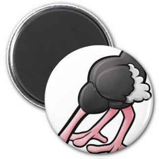 Ostrich Head Buried Cartoon Character Magnet