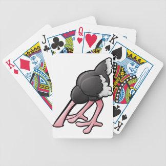 Ostrich Head Buried Cartoon Character Poker Deck