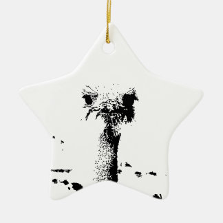 Ostrich Head in Pen and Ink Ceramic Star Ornament