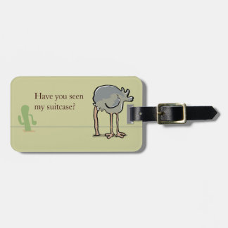 ostrich hiding luggage tag