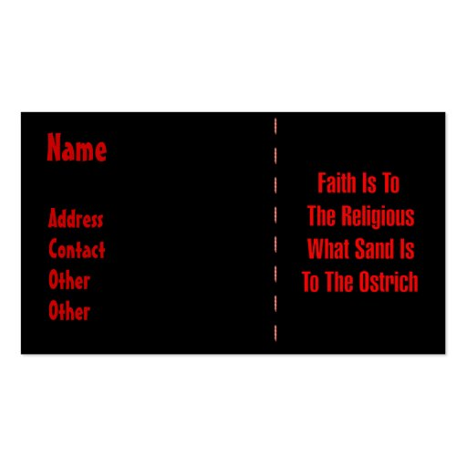 Ostrich Religion Business Cards