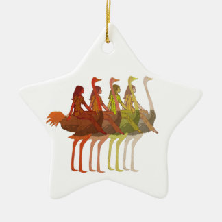 Ostrich Riding Ceramic Star Ornament
