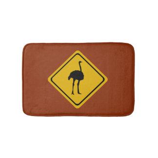 ostrich road sign - bathmat