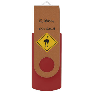 ostrich road sign - USB flashdrive USB Flash Drive