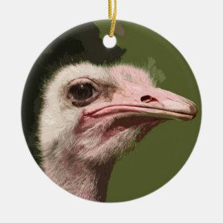 Ostrich Round Ceramic Ornament