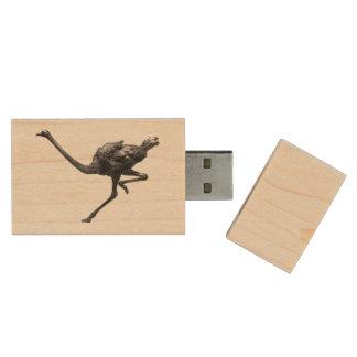 Ostrich Running Sketch Wood USB 2.0 Flash Drive