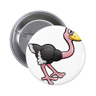 Ostrich Safari Animals Cartoon Character 2 Inch Round Button